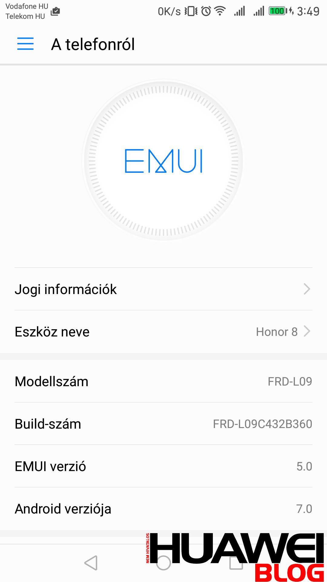 Honor 8 Android 7.0 és EMUI 5.0 frissítés