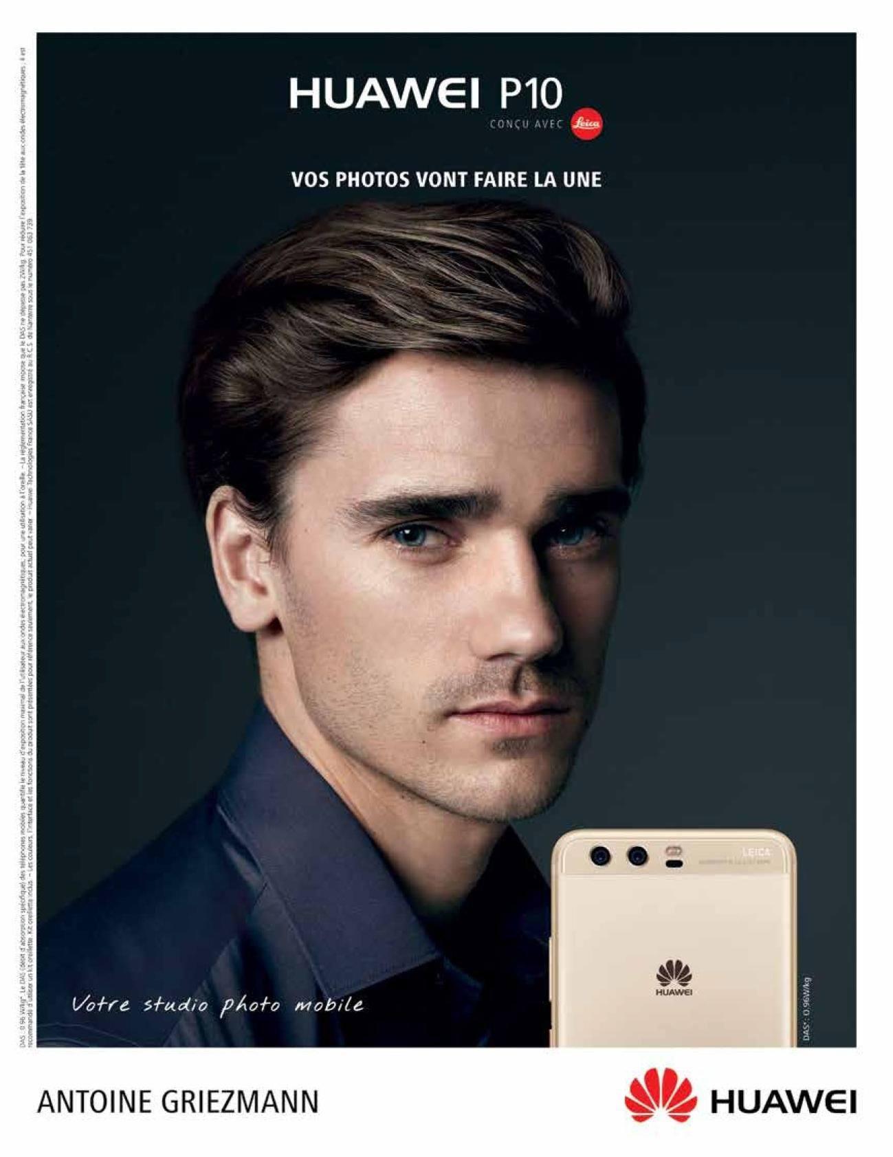 Antoine Griezmann a Huawei P10 francia reklámarca