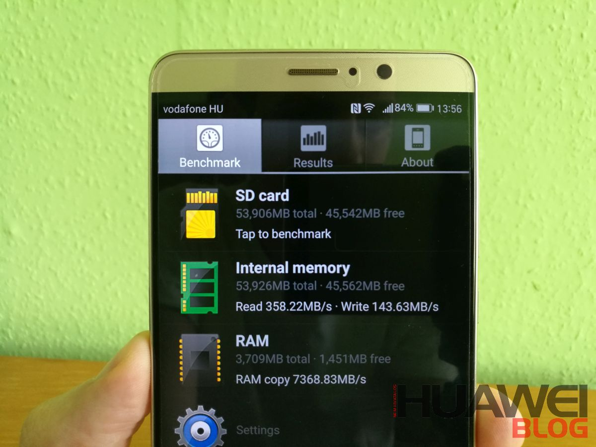 Huawei Mate 9 UFS 2.1 és LPDDR4 sebesség teszt