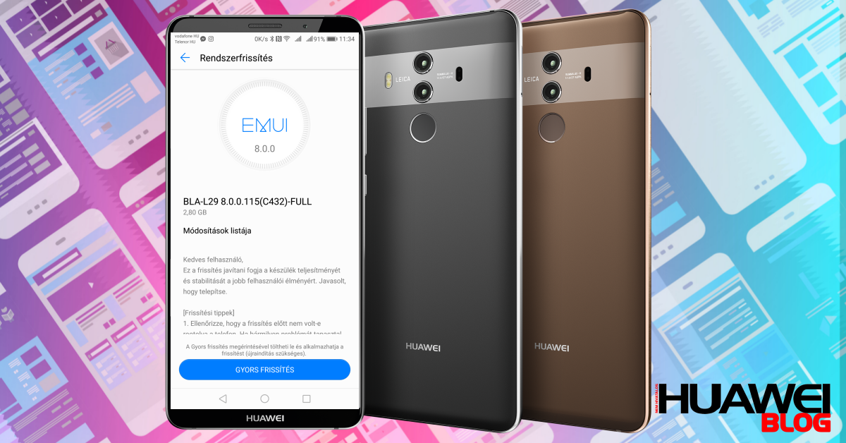 Megérkezett a Huawei Mate 10 Pro második frissítése