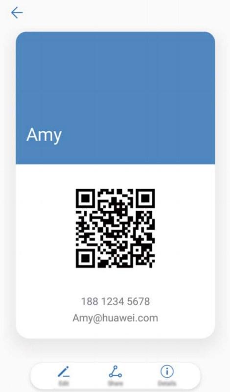 Névjegykártya hozzáadása és megosztása