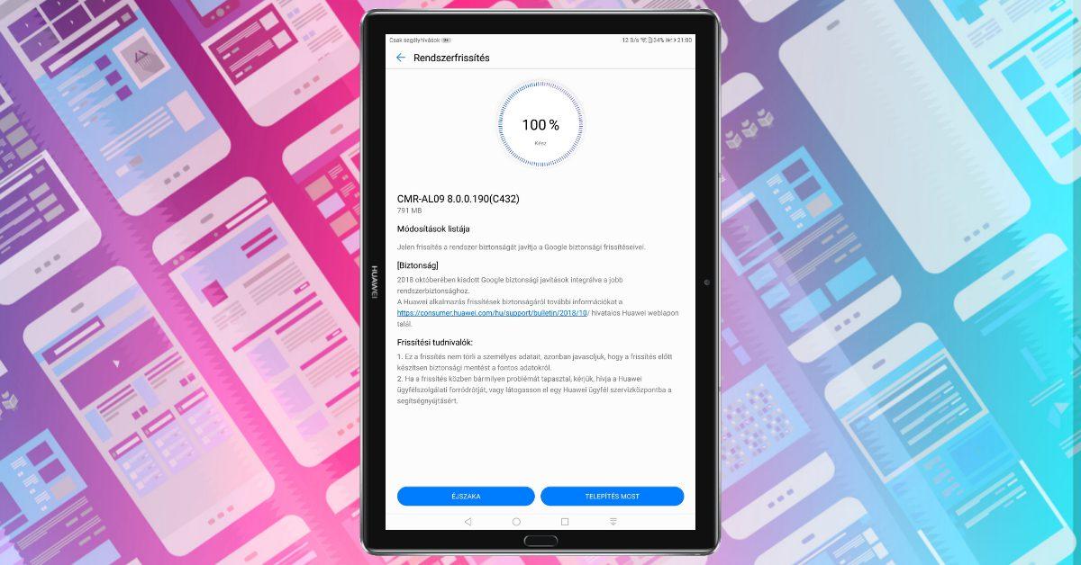 Megjött a 190-es frissítés a MediaPad M5 10.8-ra