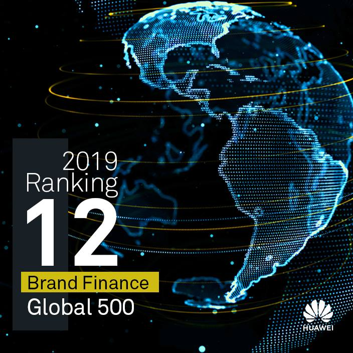 A Brand Finance Global 500 2019. listán a 12. legértékesebb a Huawei