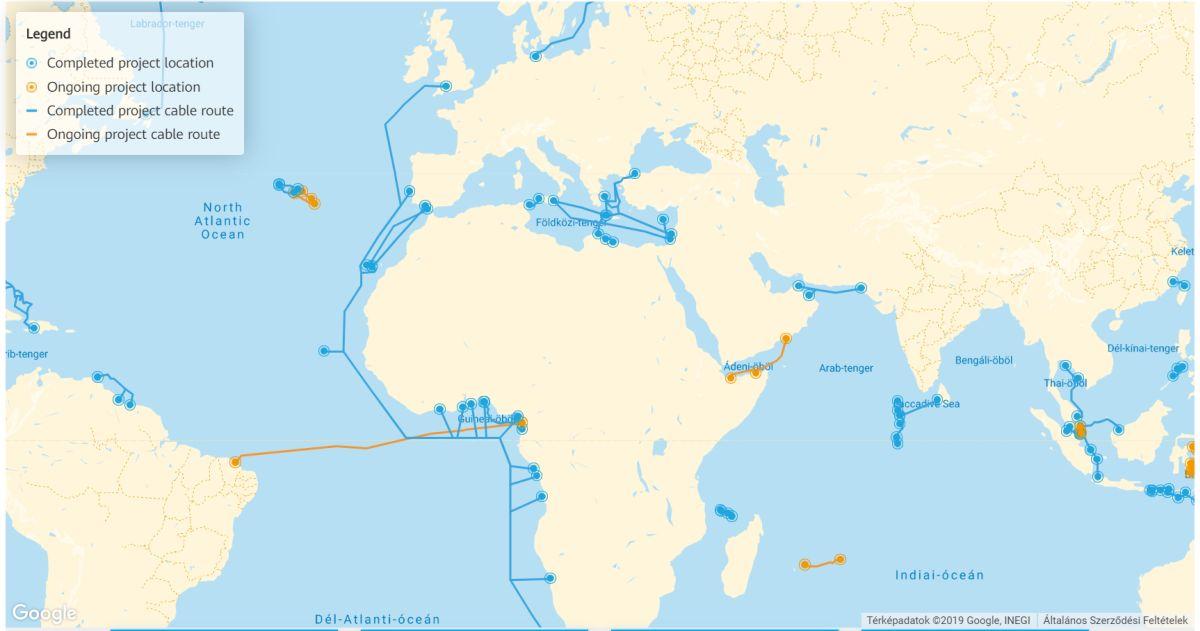 A Huawei Marine által lefektetett vízalatti kábelek térképe
