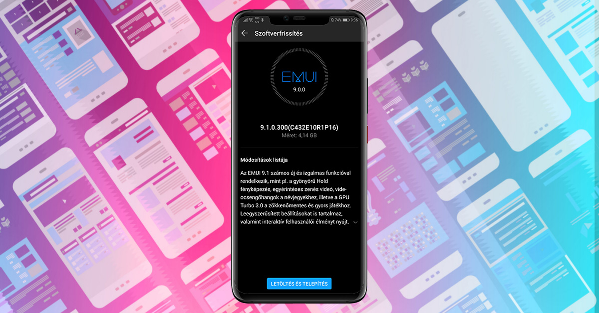 Huawei Mate 20 Pro EMUI 9.1 frissítés