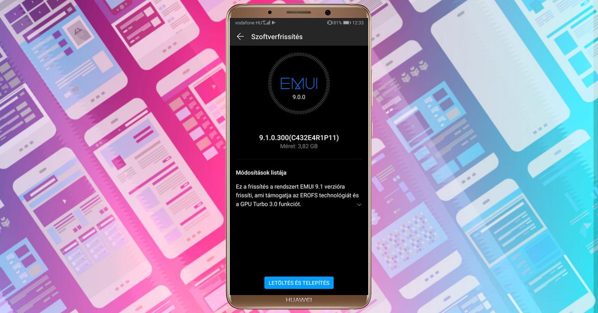 Huawei Mate 10 Pro EMUI 9.1 frissítés