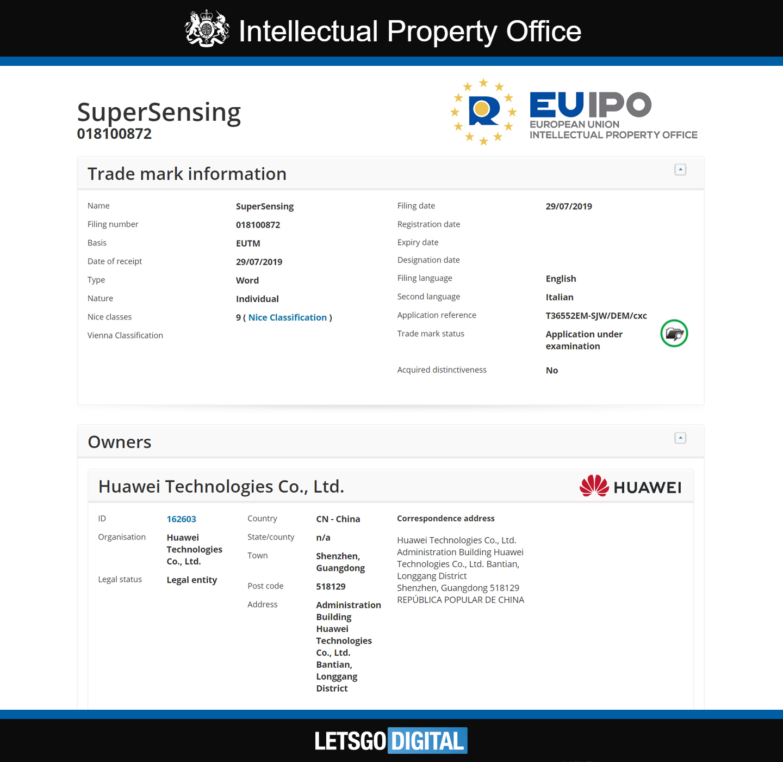 Huawei SuperSensing EUIPO szóvédjegy