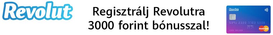 Regisztrálj most a Revolutra 3000 forint bónusszal!