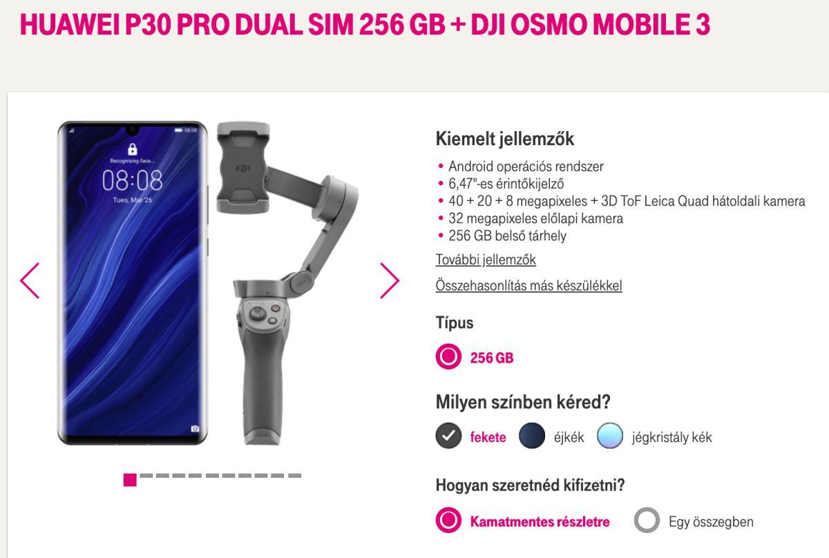 Ajándék DJI stabilizátor a Huawei P30 Pro mellé