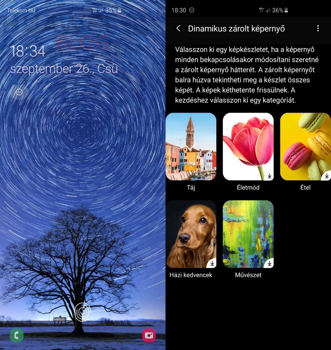 Dinamikus zárolt képernyő a OneUI-ban