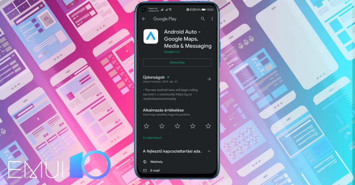 Android Auto az EMUI 10-et futtató Huawei telefonokon