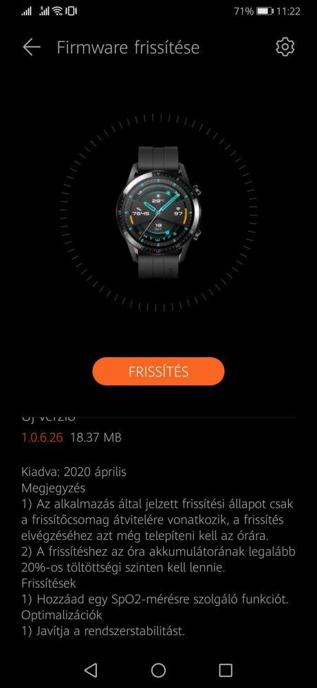 Véroxigénszint méréssel bővült a Huawei Watch GT 2