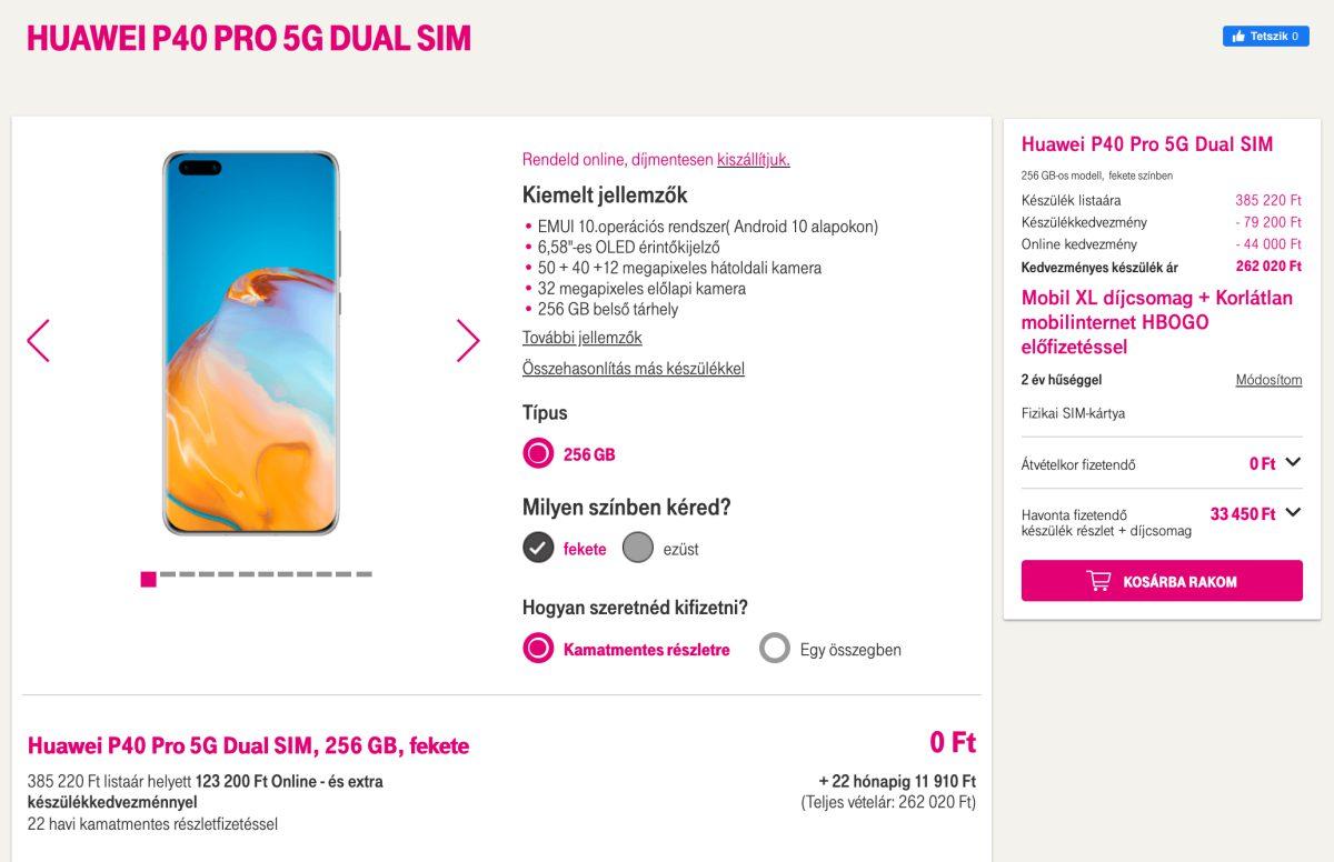 Huawei P40 Pro 5G a Telekom kínálatában
