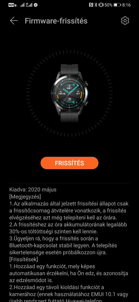 Új funkciókkal bővült a Huawei Watch GT 2e