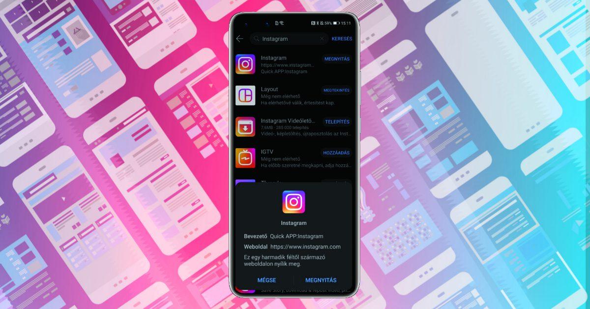 Felbukkant az Instagram az AppGallery-ben