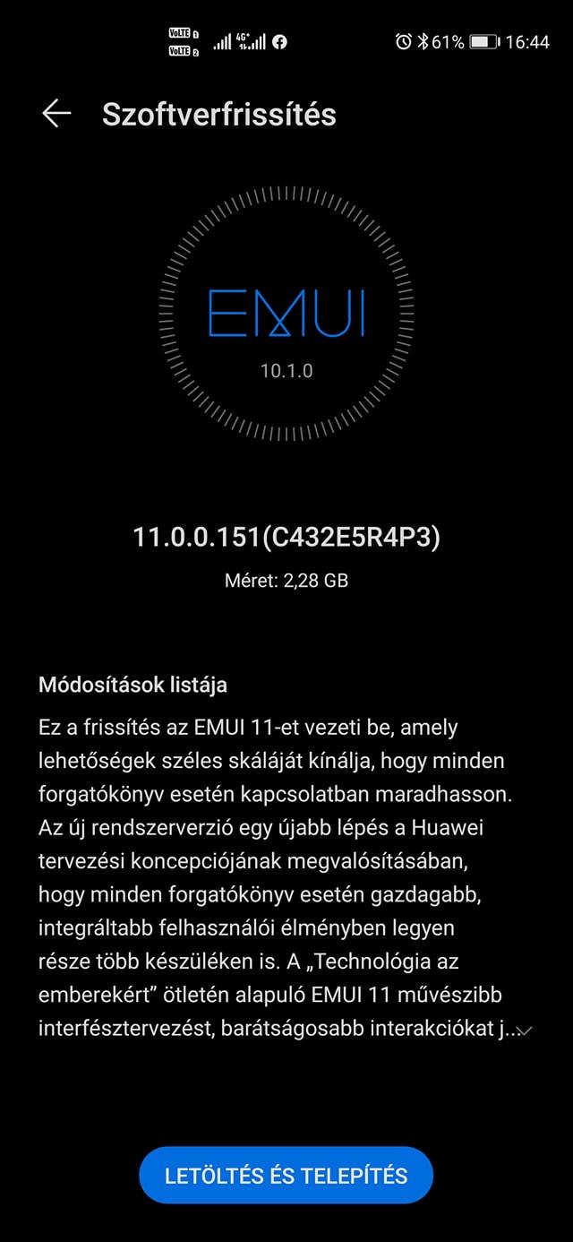 Huawei P40 EMUI 10 frissítés